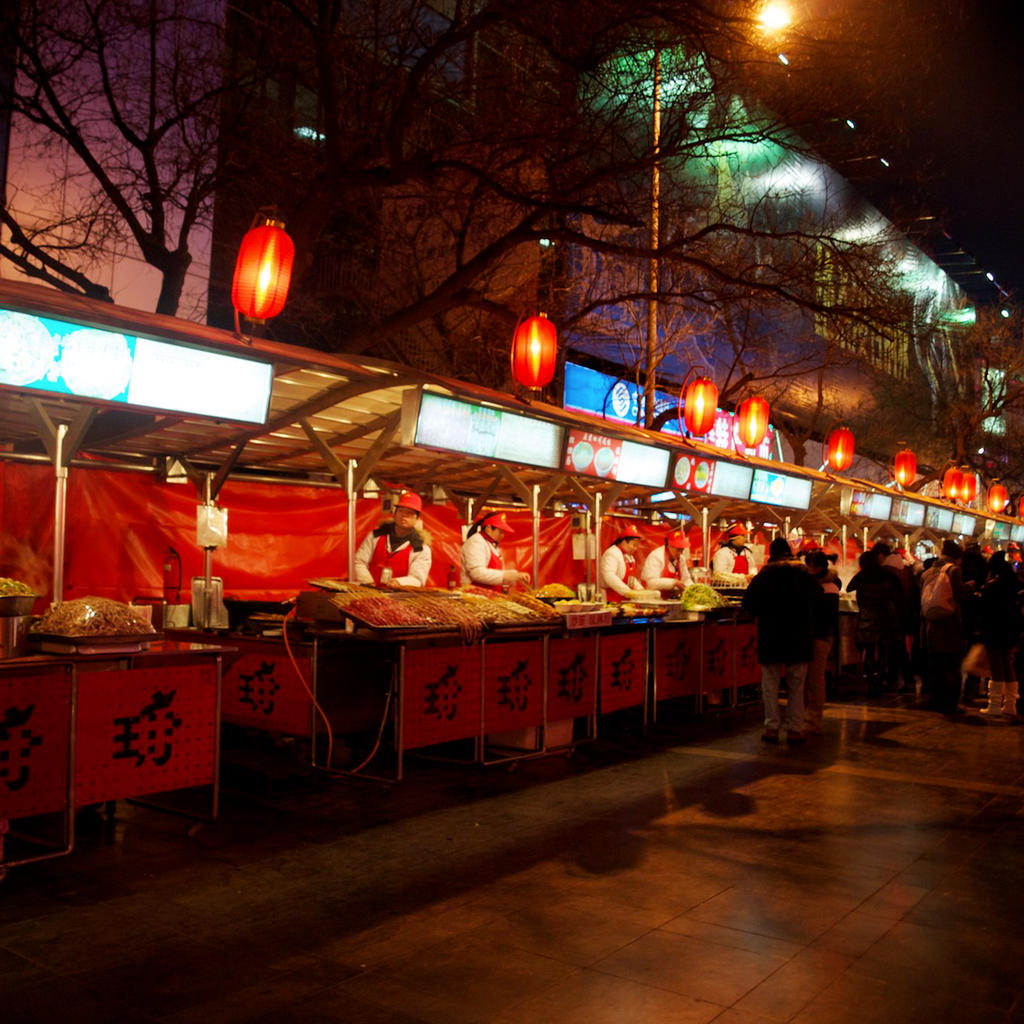 Night market on Wangfujing Street