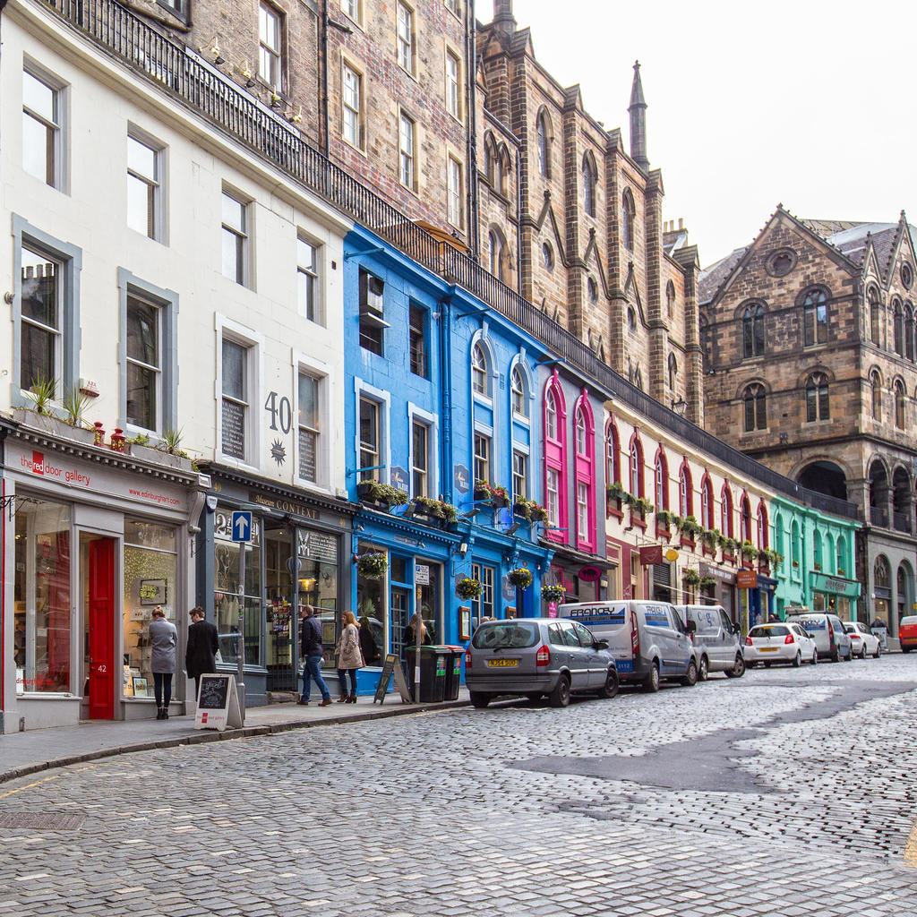 Saunter down Victoria Street to Grassmarket