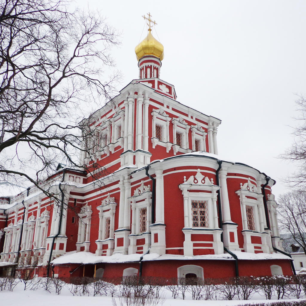 Women in prayer or on ice at Novodevichy Monastery