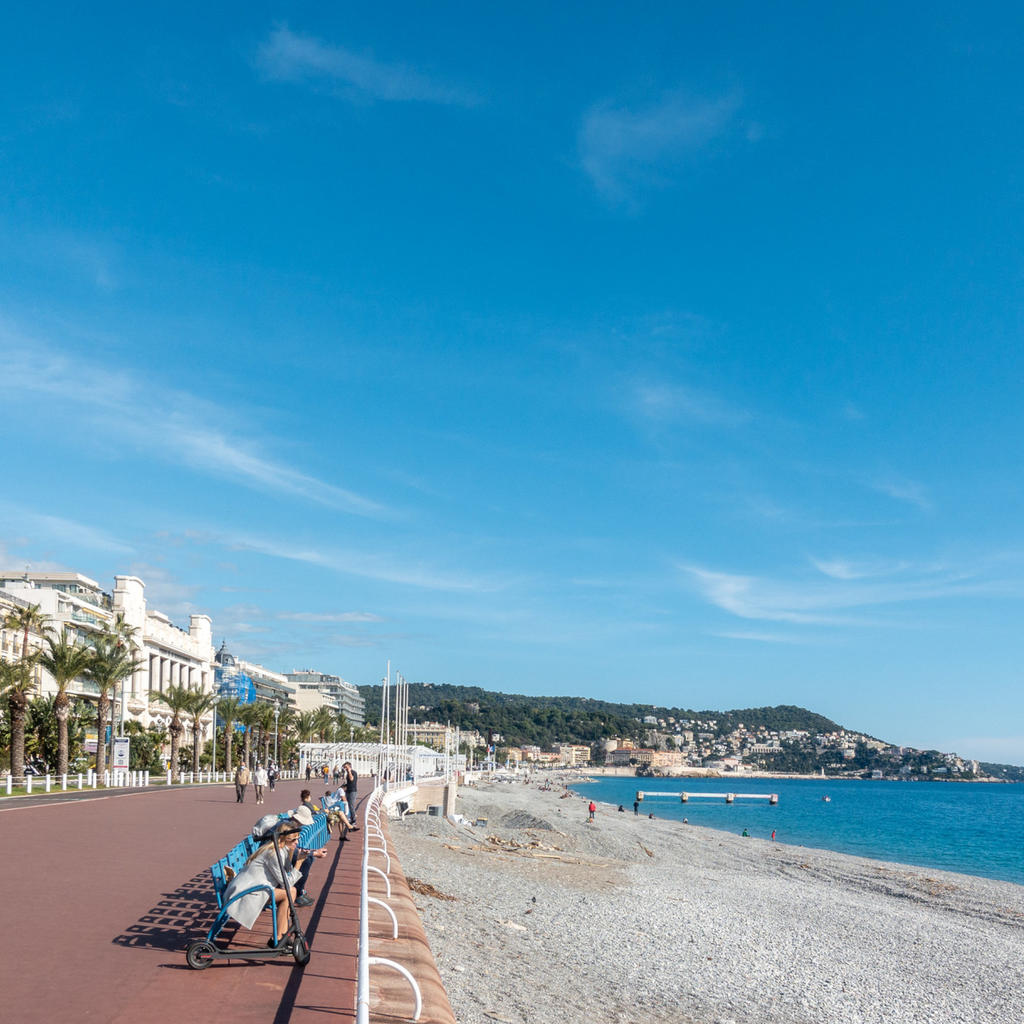 The 'Promenade des Anglais': sunset strip