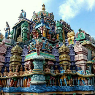 The multi-coloured Kali Kampal temple