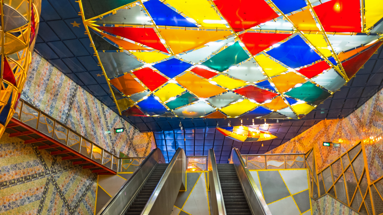Lisbon (Portugal):  An explosion of colours will surprise travellers making their way through Lisbon's Olaias station.